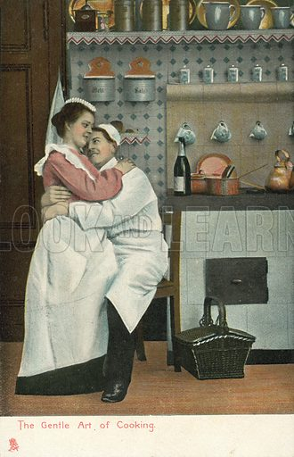 The gentle art of cooking. Postcard, early 20th century.