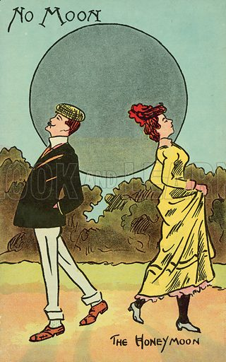 No Moon, Honeymoon. Postcard, early 20th century.