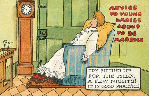 Try sitting up for the milk a few nights! Postcard, early 20th century.