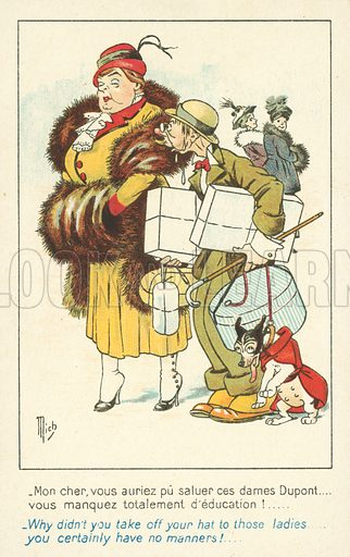 Out shopping. Postcard, early 20th century. Signed: Mich.