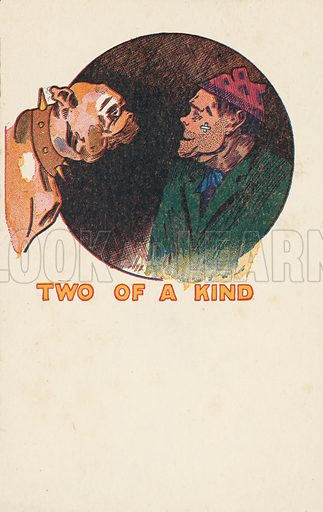 Two of a kind – mastiff and thug. Postcard, early 20th century.