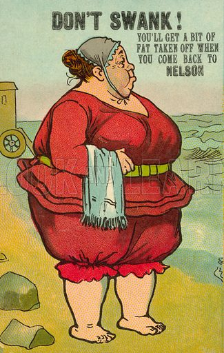 Obese woman in swimming costume. Postcard, early 20th century.
