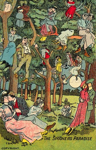 The spooner's paradise. Postcard, early 20th century.