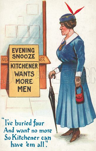 Kitchener Wants More Men. Postcard, early 20th century.