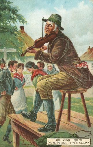 The Blind Fiddler. Postcard, early 20th century.