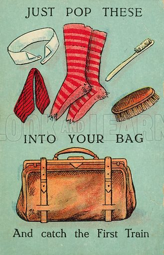 Just pop these into your bag and catch the first train. Postcard, early 20th century.