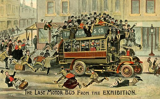 The last motor bus from the exhibition. Postcard, early 20th century.