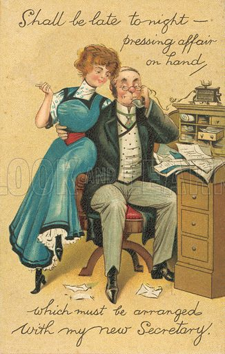Boss and secretary. Postcard, early 20th century.
