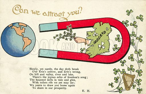 Ireland looking to attract back those who have left. Postcard, early 20th century.