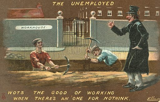 The Unemployed. Postcard, early 20th century. Signed: Elley (?).