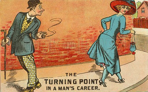 Turning point. Postcard, early 20th century.