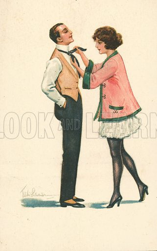 Girl helping husband with his tie. Postcard, early 20th century.