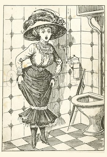 Girl having difficulties in the toilet. Postcard, early 20th century.