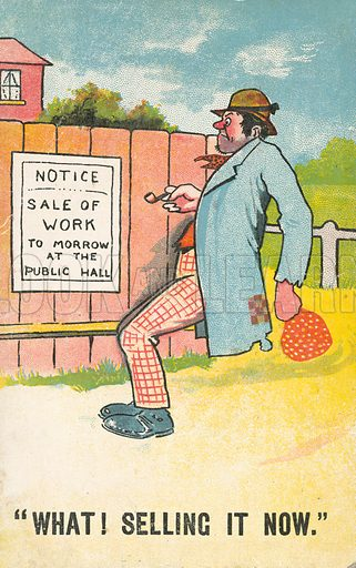 Sale of Work. Postcard, early 20th century.