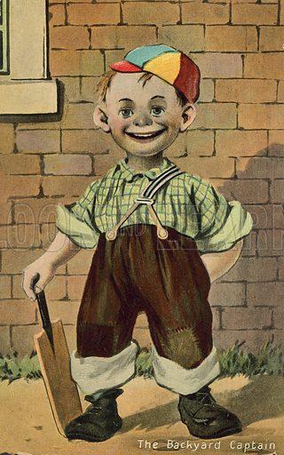 The backyard captain. Postcard, early 20th century.