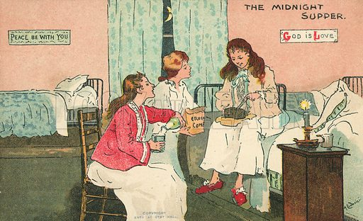 The Midnight Supper. Postcard, early 20th century.
