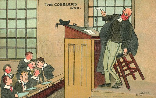 The cobblers wax. Postcard, early 20th century.