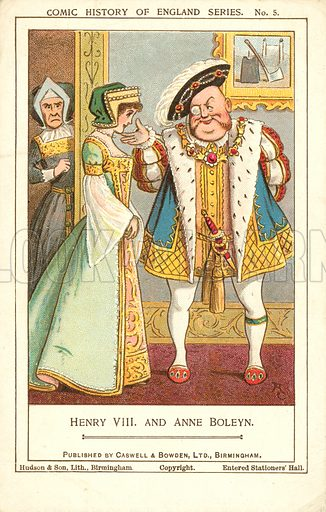 King Henry VIII and Anne Boleyn. Postcard, early 20th century.