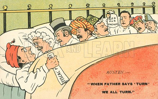 When Father says Turn we all Turn. Postcard, early 20th century.