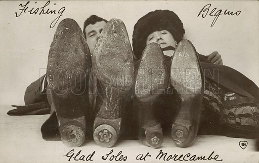Glad soles at Morecambe. Postcard, early 20th century.