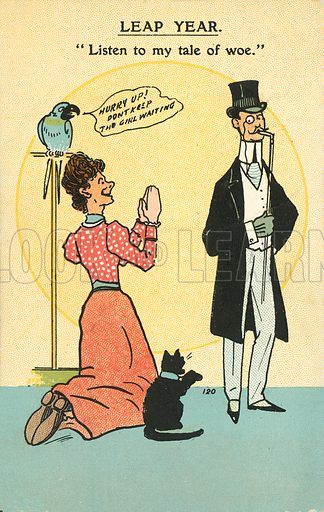 Leap year proposal. Postcard, early 20th century.