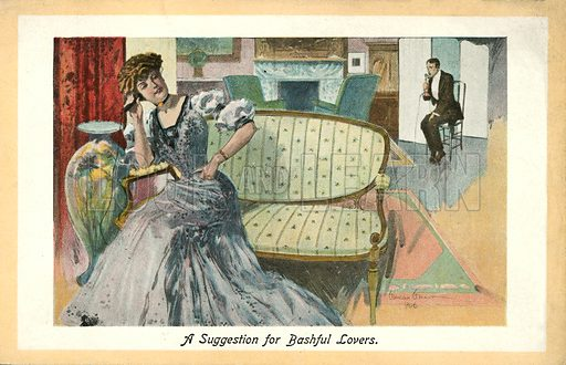 A suggestion for bashful lovers. Postcard, early 20th century. Signed: Gordon Grant.