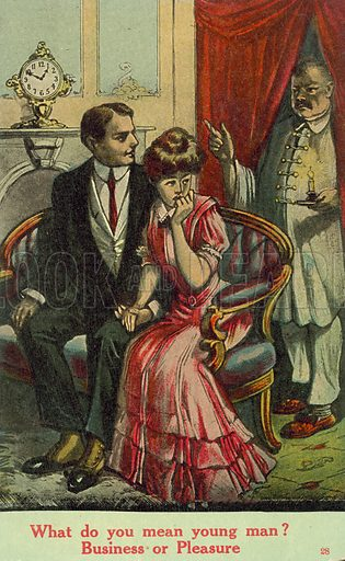 What do you mean young man? Business or Pleasure? Postcard, early 20th century.