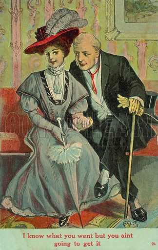 I know what you want but you ain't going to get it. Postcard, early 20th century.