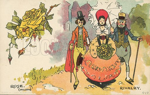 Sexual rivalry. Postcard, early 20th century.