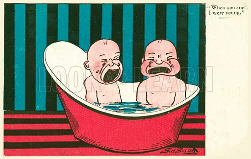 Two babies in the bath. Postcard, early 20th century. Signed: Sid Smith.