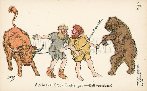 A primeval Stock Exchange – Bull versus Bear. Postcard, early 20th century. Signed: ASC.