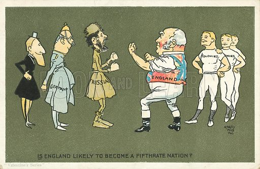 Is England likely to become a fifth rate nation? Postcard, early 20th century.