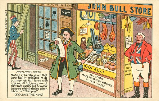 Free Trade and Protectionism. Postcard, early 20th century.