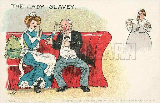 The lady slavey. Postcard, early 20th century.