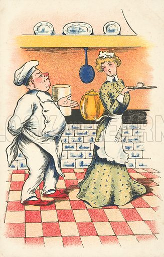 Chef and maid. Postcard, early 20th century.