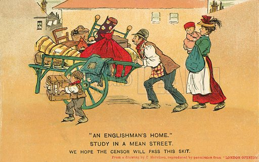 Moving house. Postcard, early 20th century.