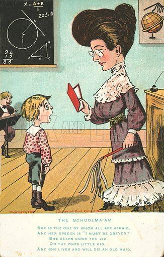 The Schoolma'am. Postcard, early 20th century.