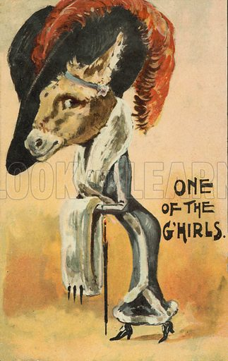 One of the G'hirls. Postcard, early 20th century.