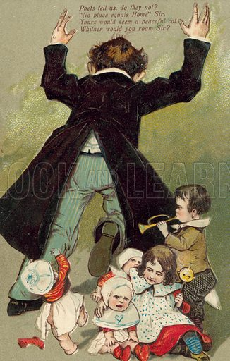 Father with noisy children. Postcard, early 20th century.