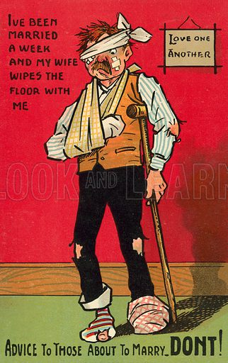 Battered husband. Postcard, early 20th century.