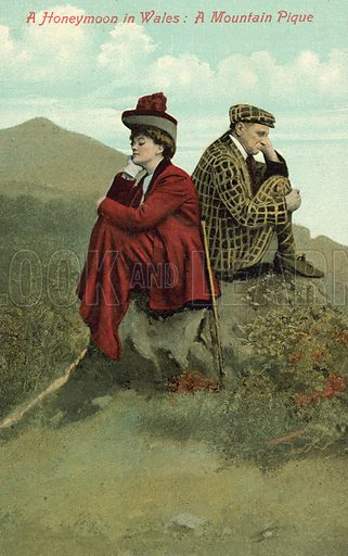 Honeymoon in Wales, A Mountain Pique. Postcard, early 20th century.