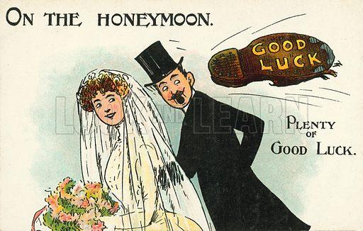 On the Honeymoon, Plenty of Good Luck. Postcard, early 20th century.