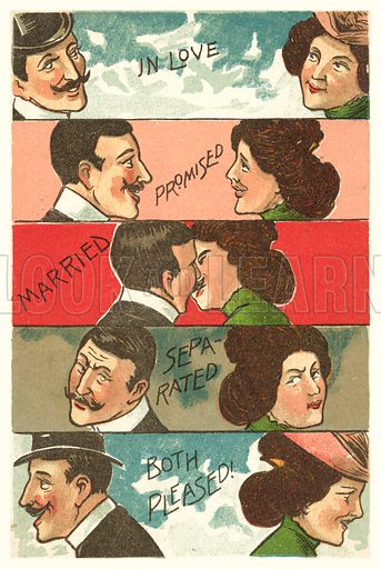 In Love, Promised, Married, Separated, Divorced and Both Pleased. Postcard, early 20th century.