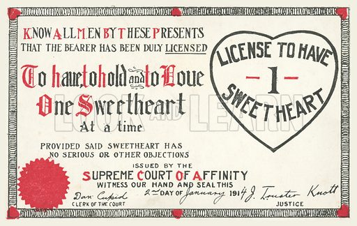 Licence to Have One Sweetheart. Postcard, early 20th century.