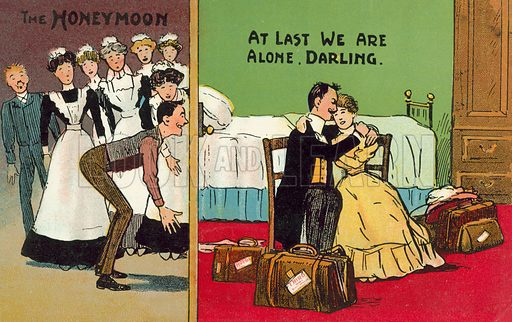 Honeymoon, At last we are alone darling. Postcard, early 20th century.