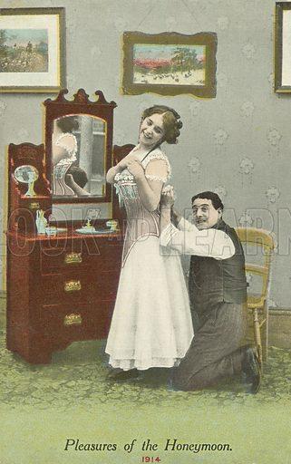 Pleasures of the honeymoon. Postcard, early 20th century.