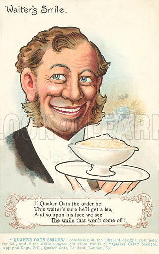 Waiter's smile. Postcard, early 20th century.