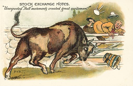 Unexpected bull movements created great excitement. Postcard, early 20th century.