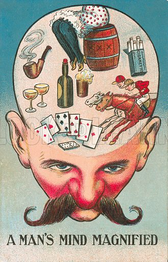 A man's mind magnified. Postcard, early 20th century.