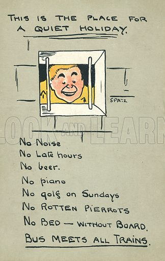 Man in prison. Postcard, early 20th century. Signed: Spatz.